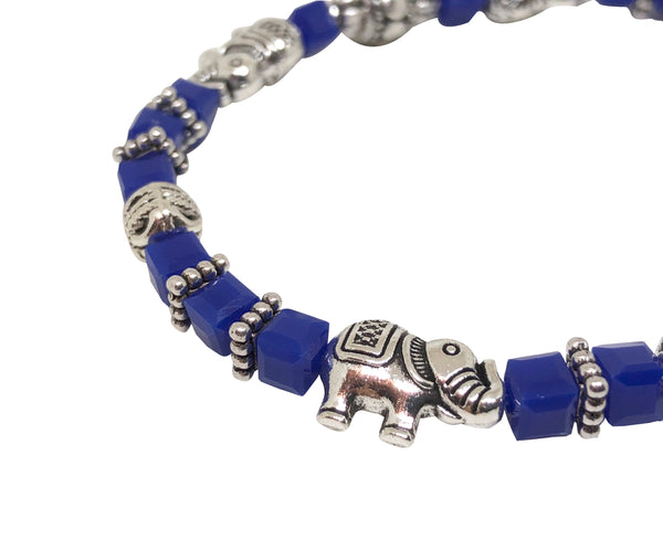 Elephant Stretch Crystal Bead Bracelet 8 COLORS - Royal Blue, Strength and Wisdom Symbol