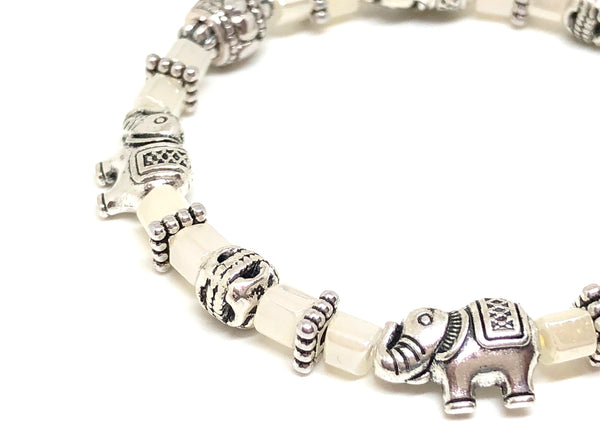 Elephant Stretch Crystal Bead Bracelet 8 COLORS - Ice White, Strength and Wisdom Symbol