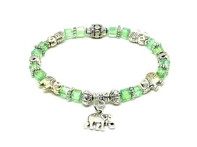 Elephant Stretch Bracelet - Crystal Bead Bracelet 13 COLORS - Peridot Green Crystal, Good Luck Strength and Wisdom Symbol