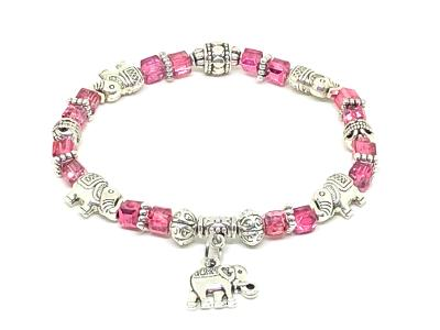 Elephant Stretch Bracelet - Crystal Bead Bracelet 13 COLORS - Pink Metalic, Good Luck Strength and Wisdom Symbol