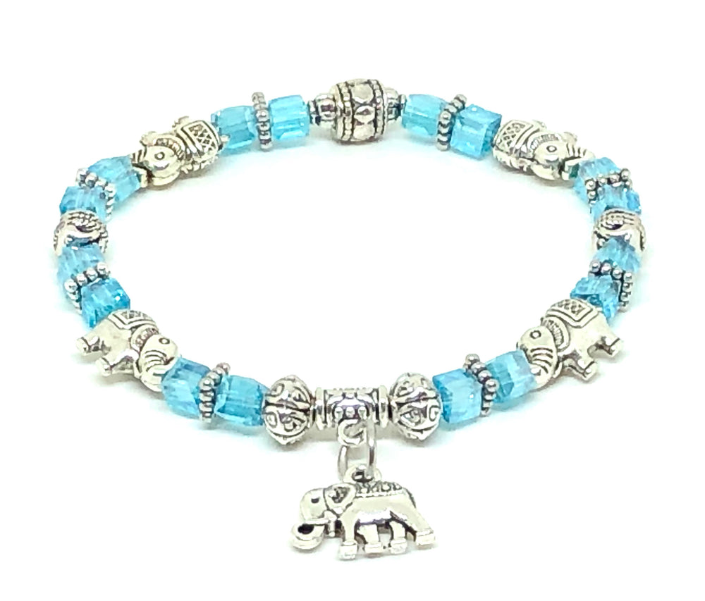 Elephant Stretch Bracelet - Crystal Bead Bracelet 13 Colors - CRYSTAL BABY BLUE , Good Luck Strength and Wisdom Symbol - Cheer and Dance On Demand