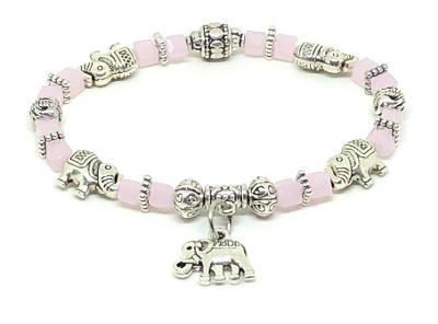 Elephant Stretch Bracelet - Crystal Bead Bracelet 13 COLORS - BABY PINK, Good Luck Strength and Wisdom Symbol