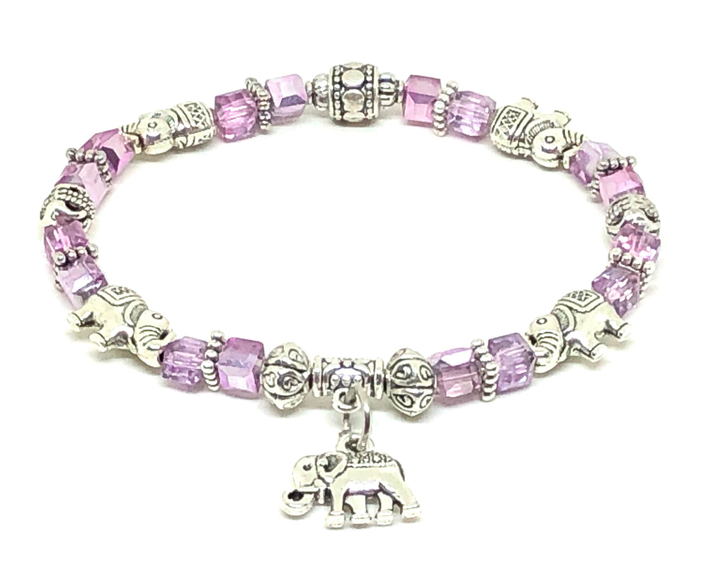 Elephant Stretch Bracelet - Crystal Bead Bracelet 13 COLORS - Lavender Metallic, Good Luck Strength and Wisdom Symbol