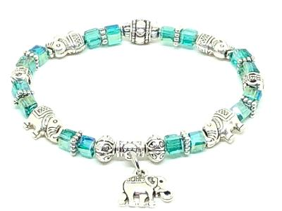 Elephant Stretch Bracelet - Crystal Bead Bracelet 13 COLORS - Teal Green Crystal, Good Luck Strength and Wisdom Symbol