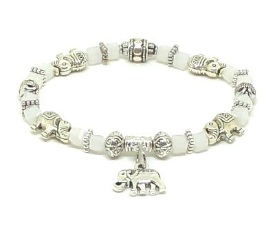 Elephant Stretch Bracelet - Crystal Bead Bracelet 13 Colors - ICE WHITE , Good Luck Strength and Wisdom Symbol