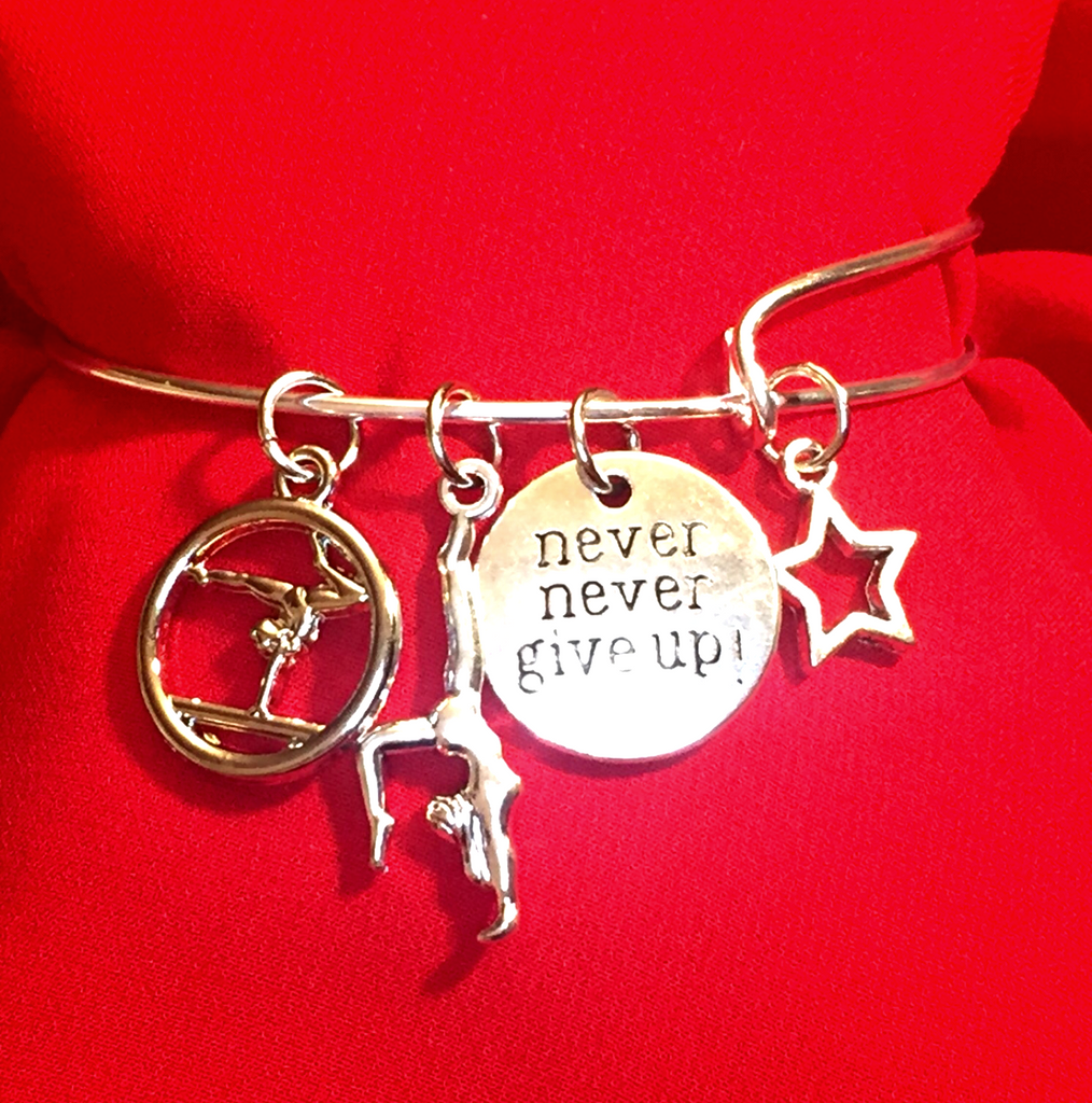 Gymnastics Charm Bracelet - Never Give Up