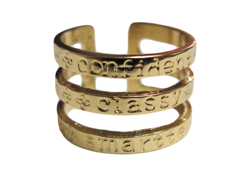 Empowerment, Inspiraiton Word RING:  Confident, Classy, Smartte