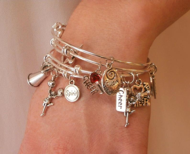 I Love Cheerleading Charm Bracelet with Bow - Silver - Cheer and Dance On Demand