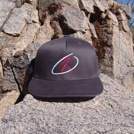 The Operator Gray Flexfit Cap with Red, White, and Blue Logo