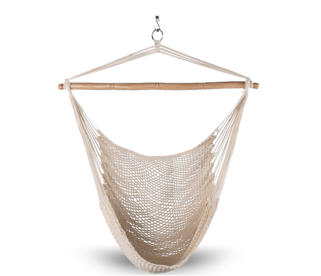 Mexican Style White Cotton Rope Hammock Chair