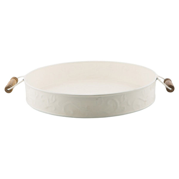 Ameson Enamelled Iron Round Tray with Wooden Handle, White