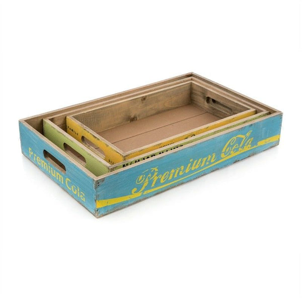 Premium Cola Set of 3 Distressed Wooden Tray