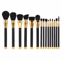 15pc Professional Gold Trim Brush Set (4 Colors Available)
