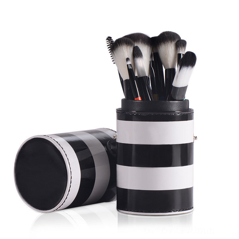 10 pc Professional Rainbow Brush Set w Striped Cup