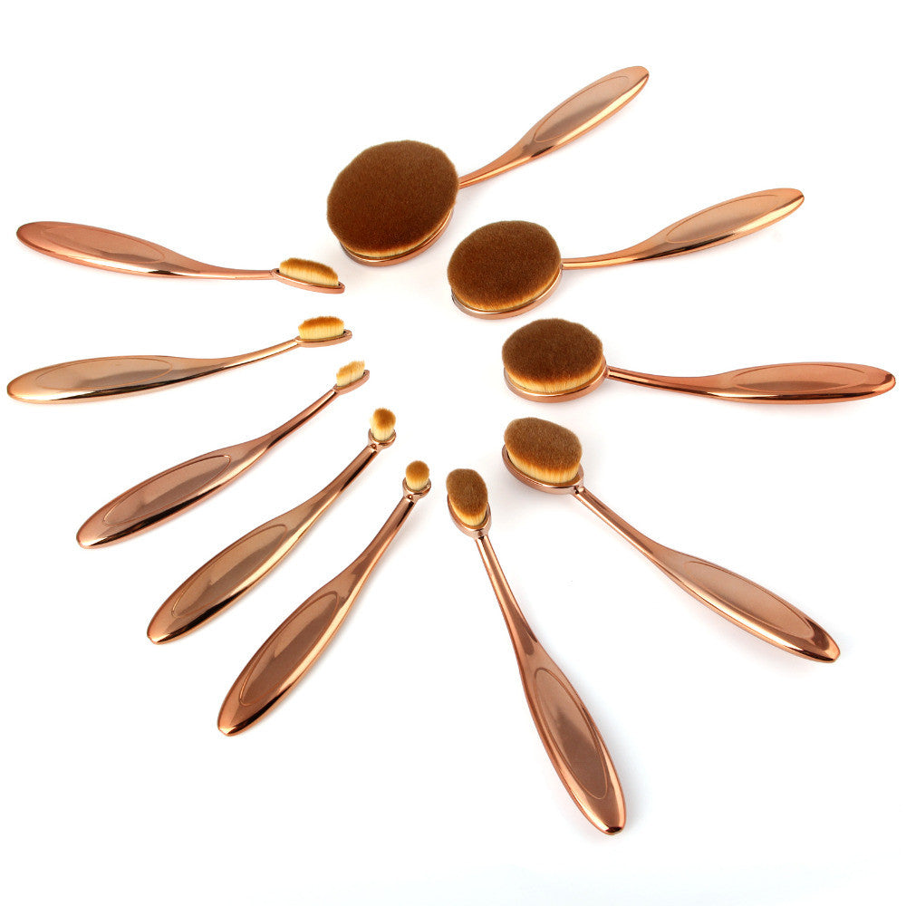 10 Pc Professional Gold Oval Makeup Brush Set