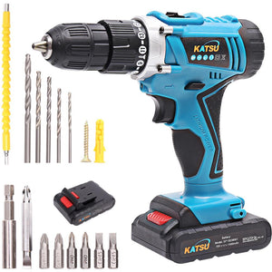 102381 KATSU Cordless Impact Drill 18V With Shaft and Accessories and 2 Battery 1.5Ah