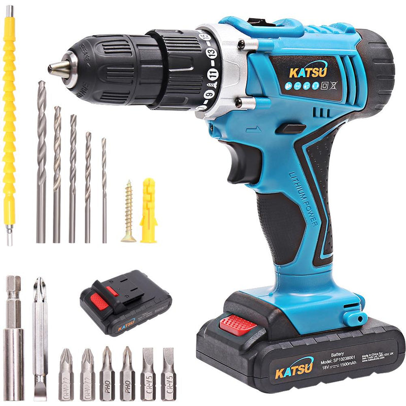KATSU Cordless Impact Drill 18V With Accessories and 2 Batteries