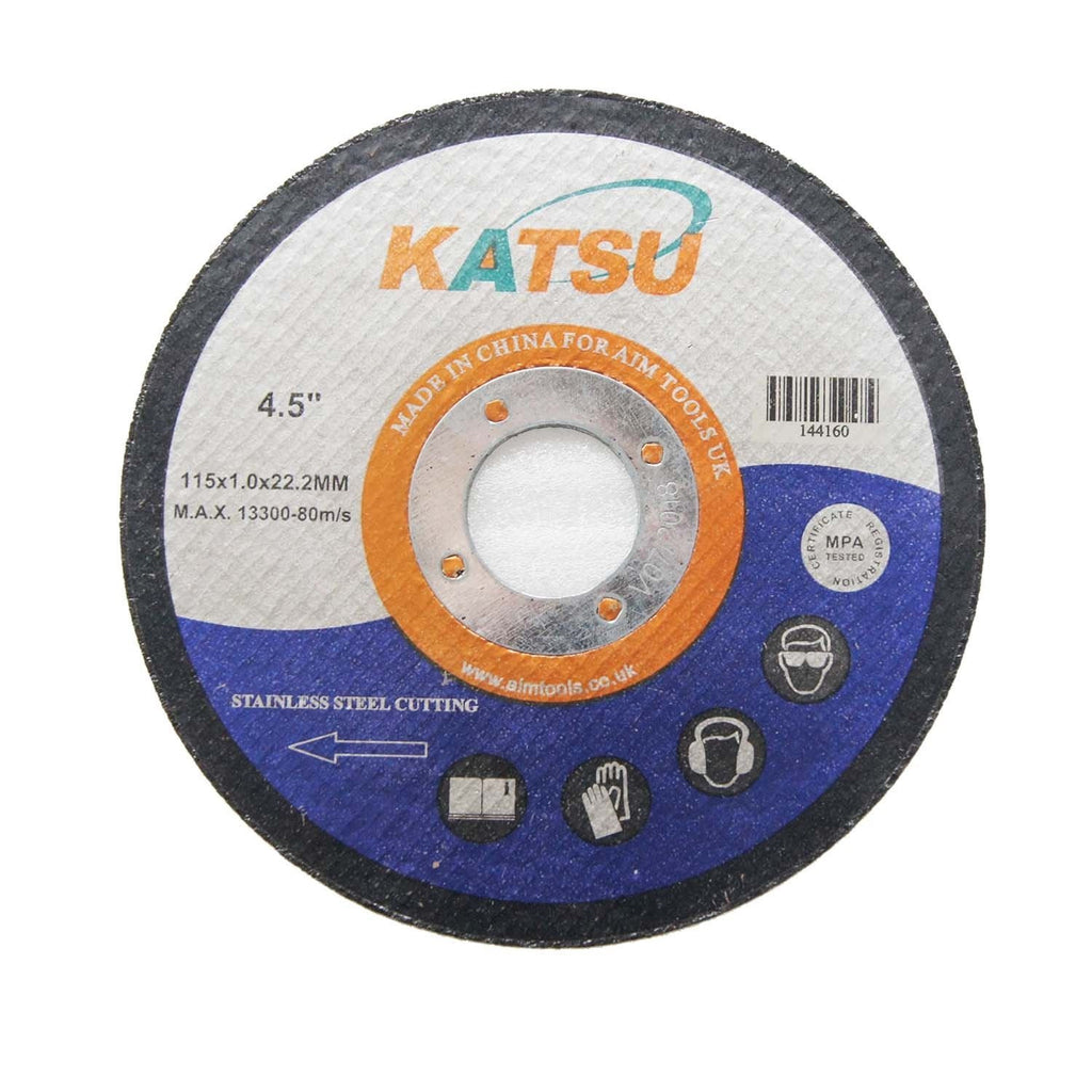 144160 Stainless Steel Abrasive Cutting Disc 115mm 10pcs Pack