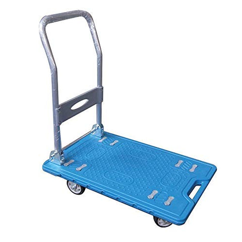 552166 Heavy Duty Light Weight Fold Platform Plastic Trolley Cart Warehose 300Kg