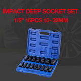 "420441 Impact Deep Socket Set 1/2"" 16PCs 10~32mm"