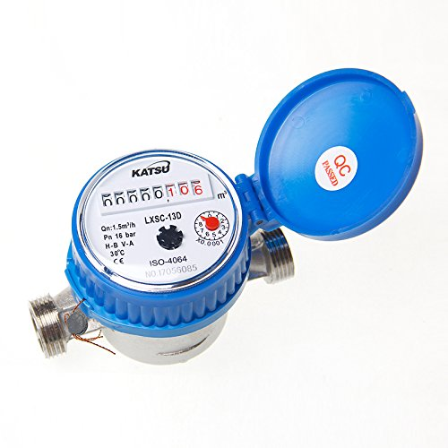 Cold Water Flow Meter Brass 15mm Dry Dial
