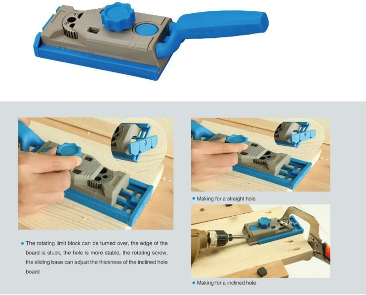 Pocket Jig Hole System Kit Drill Guide Wood Working Drill Round Tenon Locator