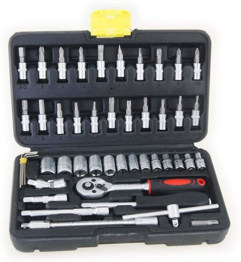 "KATSU Heavy Duty 46PC Tool Set with 1/4"" Drive Ratchet Socket Wrench Star hex torx bits"