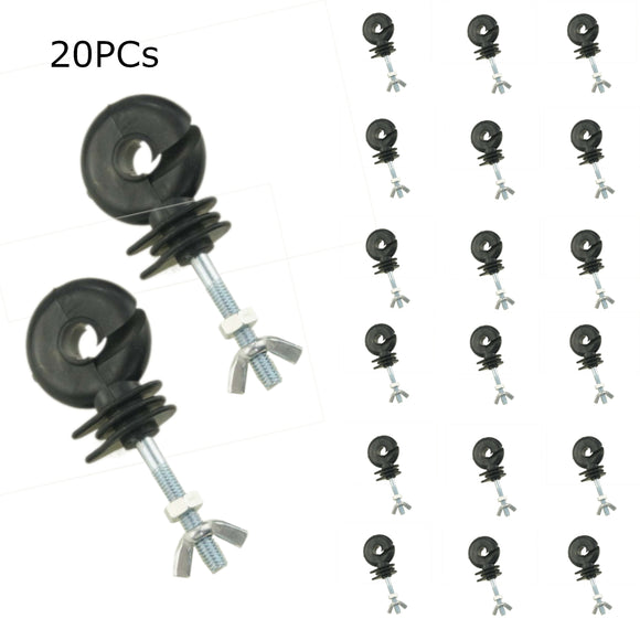 667105 20Pack Heavy Duty Electric Fencing Insulators Screw Bolt