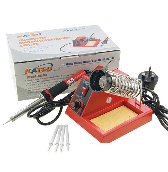 312095 58W Soldering Station Iron Electronic W/ Extra Tips RED