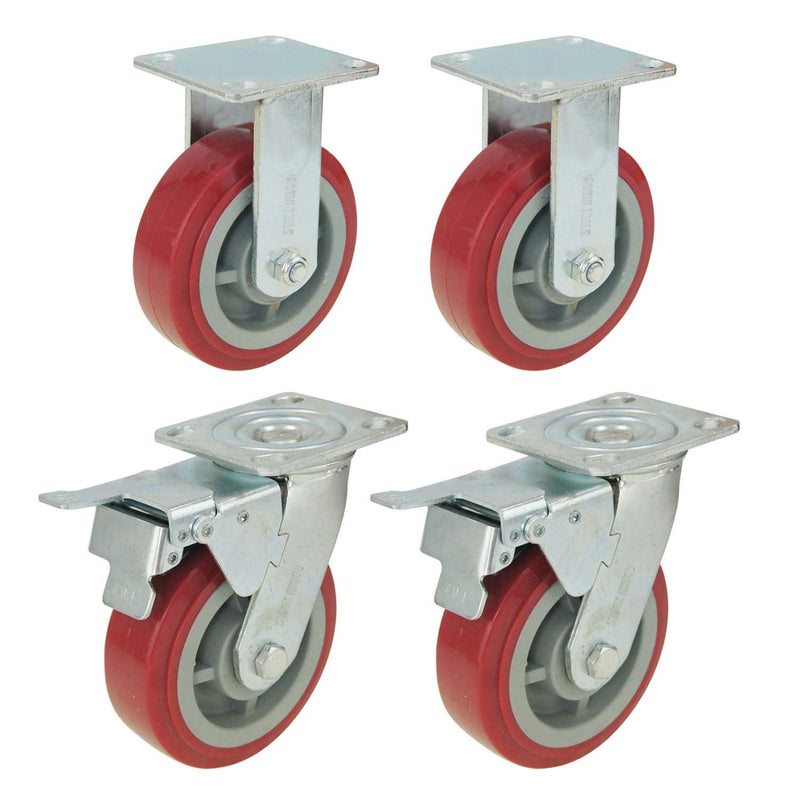 Heavy Duty Wheel Castor Set 2 Fixed  2 Brake 150mm 1100KG