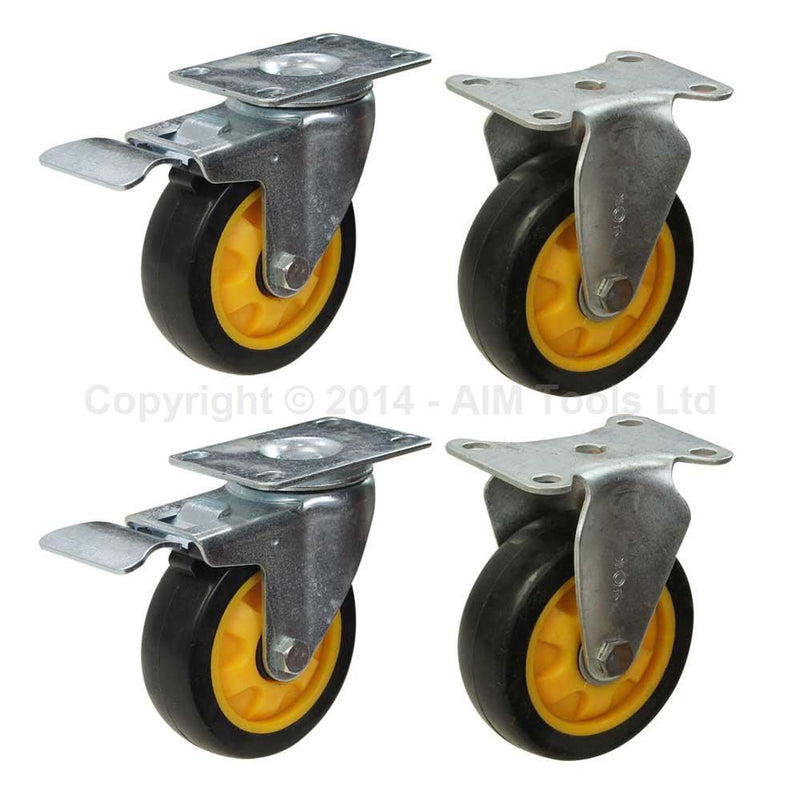 Polyurethane Wheel Castor Set - 100mm with Bearings 2 Fixed  2 Brake