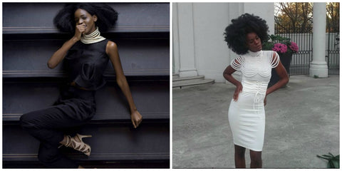 LHS: Woman posing wearing stacked Gold rope neckpieces. RHS: Woman wearing Pearl Cleopatra necklace on off-white bodycon dress