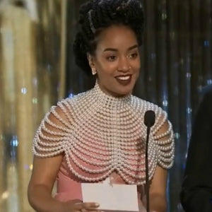 Amanda Parris wearing the Pearl Cleopatra necklace