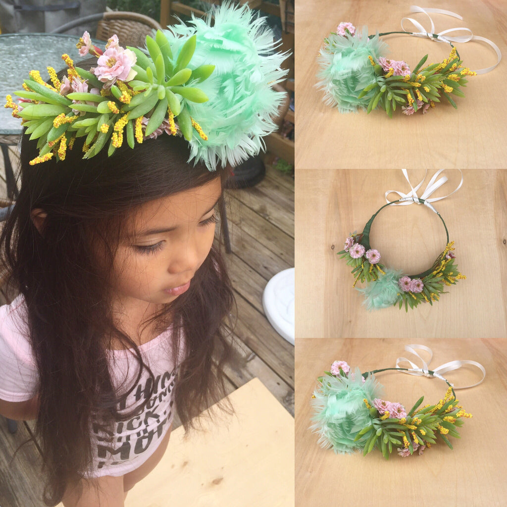 OOAK MINT & SUCCULENT FLOWER CROWN/ ready to ship