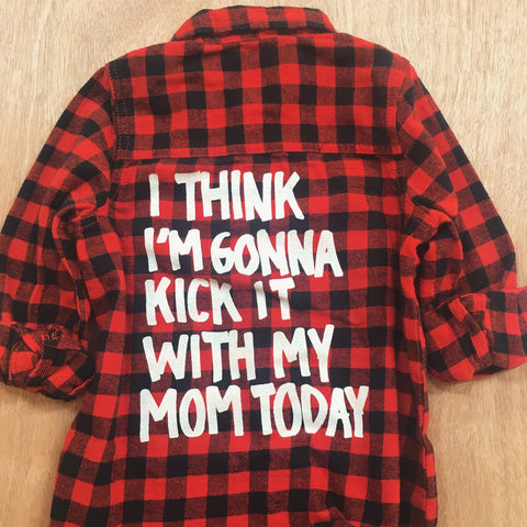 KICK IT WITH MOM PLAID BUTTON UP TOP (18MO-5YR)