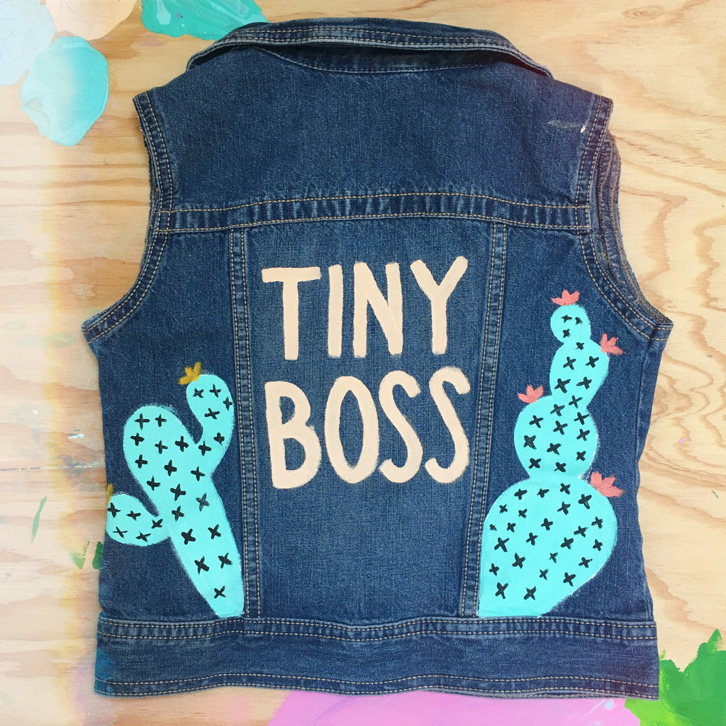 HAND PAINTED DENIM VEST/ TINY BOSS CACTI (4-6T)