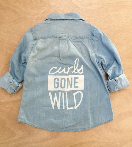CURLS GONE WILD CHAMBRAY TOP  (2YR-7/8YR) BLACK OR WHITE INK
