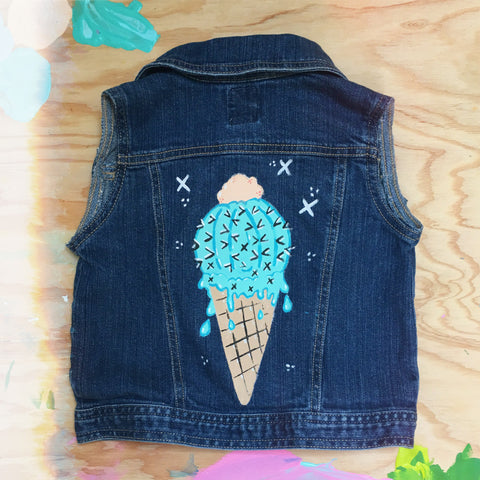 HAND PAINTED DENIM VEST/ CACTUS CONE #1 (2-4T)