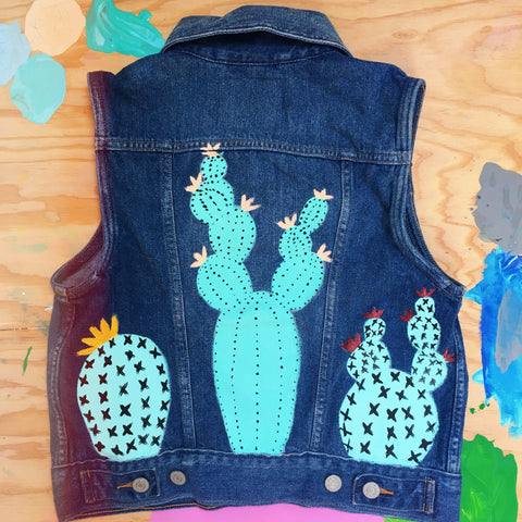 HAND PAINTED DENIM VEST/ CACTI (ADULT SM)