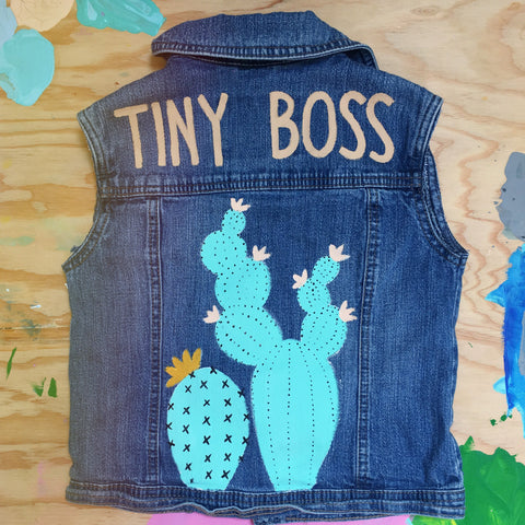 HAND PAINTED DENIM VEST/ TINY BOSS (6-8YR)