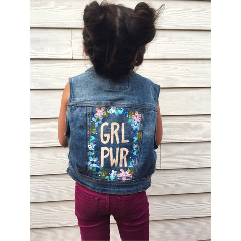 HAND PAINTED DENIM VEST/ GRL PWR (4-6T)
