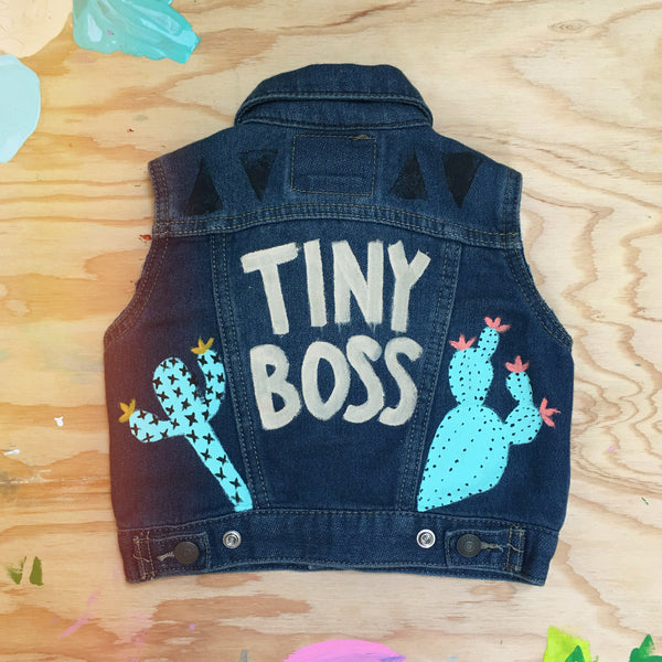HAND PAINTED DENIM VEST/ TINY BOSS (6-12MO)