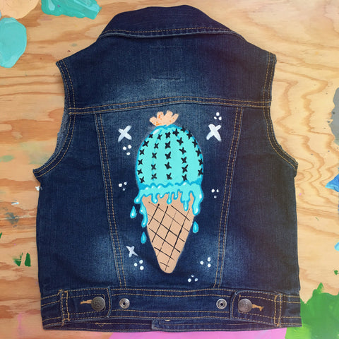 HAND PAINTED DENIM VEST/ CACTUS CONE #2 (4-6T)