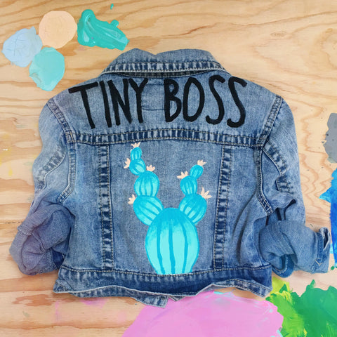 HAND PAINTED DENIM JACKET/ TINY BOSS (3-5T)