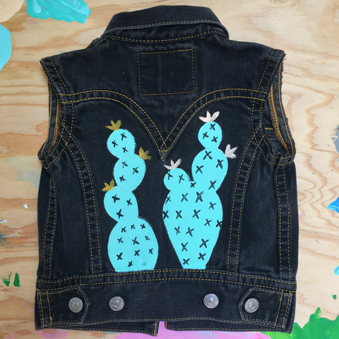 HAND PAINTED BLACK DENIM VEST/ CACTI (3-5T)