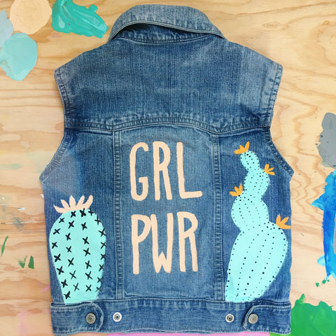 HAND PAINTED DENIM VEST/ GRL PWR CACTI (4-6T)