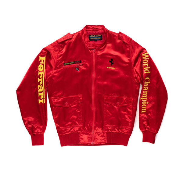 Style Auto Ferrari World Champion Red Satin Jacket