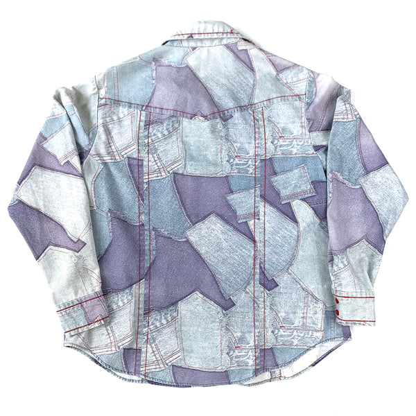 Denim Patchwork Print Button Down Shirt