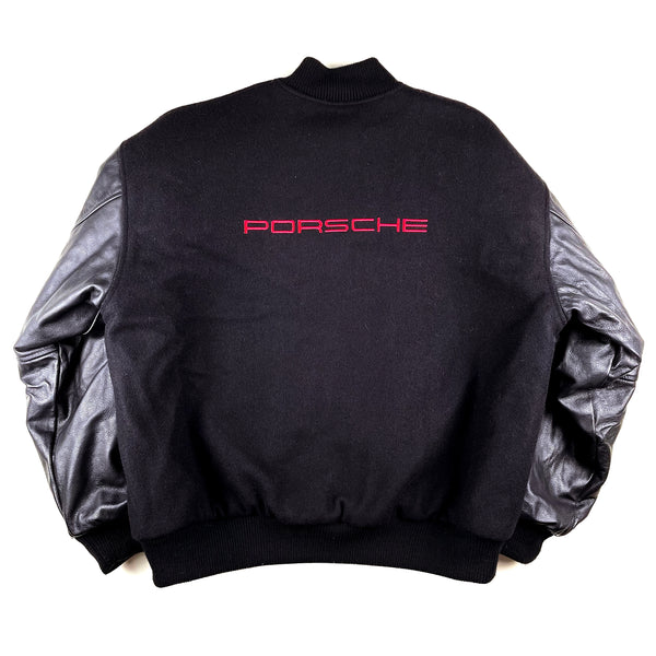 Porsche Embroidered Wool & Leather Letterman Jacket