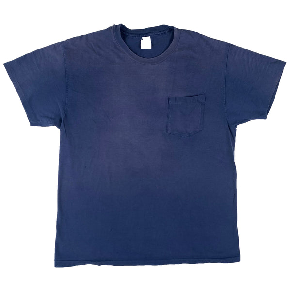 Blank Hanes Blue Pocket T-Shirt (Large)